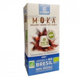 Capsules Nespresso compatible - biodégradable et compostable - Moka Bresil - 10 capsules