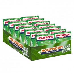 Chewing-gum Hollywood Menthe Verte Green Fresh - Lot de 14 étuis - 168 dragées