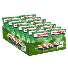 Chewing-gum Hollywood Menthe Verte Green Fresh - Lot de 14 étuis - 168 dragées