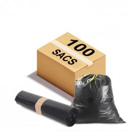 Sac poubelle à lien coulissant - 50 L - 26 microns - Par 100