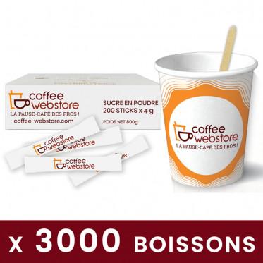 Pack Café écologique : Gobelet carton 15cl + Sucre + Spatule - 200 boissons