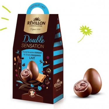 Pochette d'Oeufs en Chocolat Praliné Double Sensation au lait - Pâques - 155g - Révillon