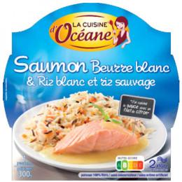 Saumon beurre blanc & Riz blanc et riz sauvage + Fourchette