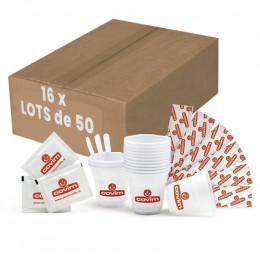 Kit d'accessoires hygiéniques, emballage individuel - Gobelets, Spatules, Sucres - 1 lot de 50