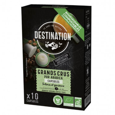 Capsules Nespresso compatible - Sélection Biodégradables et Bio - Destinatino Grand Comptoir - 10 capsules