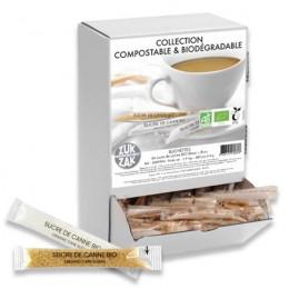 Boite distributrice de sucre de canne Bio blanc & brun, emballage compostable – 480 buchettes – 1,9 kg