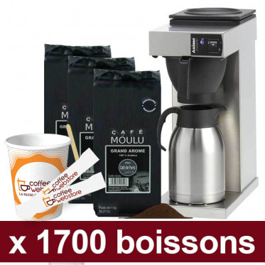 "Machine Excelso T avec Café Moulu Café de Paris : Pack Pro ""Large"" - 1700 boissons"