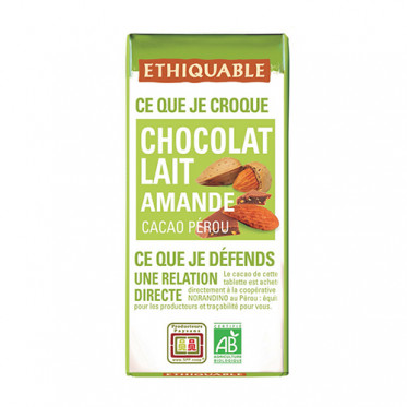 Mini tablette de chocolat lait avec éclats d'amandes Ethiquable