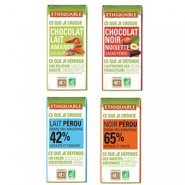 Pack découverte mini tablette de chocolat Ethiquable - 4 goûts
