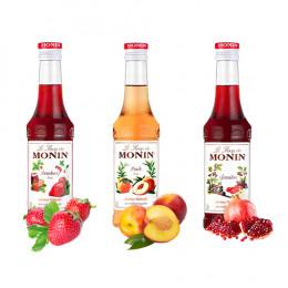 Pack Sirop Monin fruits : Fraise, Pêche, Grenadine - 3 x 25cl