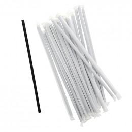 Pailles PLA sous emballage individuel - Coloris noir - par 50