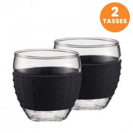 Tasse Bodum Pavina Verre Expresso Noir 10 cl : 2 tasses