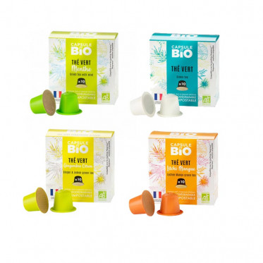 Capsules Nespresso compatible sans aluminium sans plastique - Thé Vert Litchi Mangue Bio - 10 capsules