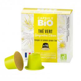 Capsules Nespresso compatible sans aluminium sans plastique - Thé Vert Gingembre Citron Bio - 10 capsules