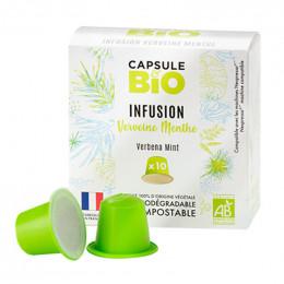 Capsules Nespresso compatible sans aluminium sans plastique - Infusion Verveine Menthe Bio - 10 capsules