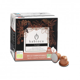 Capsules Nespresso compatible - biodégradable et compostable - Kabioca Lungo n°9 - 50 capsules