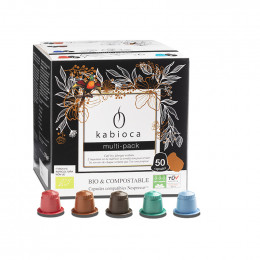 Capsules Nespresso compatible - biodégradable et compostable - Kabioca Multi-pack - 5 parfums - 50 capsules