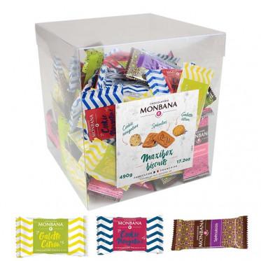 Biscuit accompagnement cafe Monbana Maxi Box : Mini-Cookie, Spéculoos, Palet Citron - 110 pièces