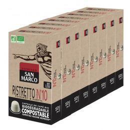 Capsules Nespresso compatible - biodégradable et compostable - Ristretto N°10 Bio San Marco - 80 capsules