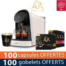 PACK Machine à capsule Nespresso L'Or Barista Philips - Coloris Satin Blanc - 200 boissons