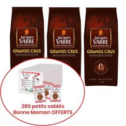 Café en Grains Jacques Vabre Professionnel Grands Crus - 3 Kg + 280 mini-cookies Bonne Maman OFFERTS