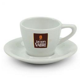 Tasse en porcelaine Jacques Vabre Espresso 8 cl avec sous-tasses - par 6