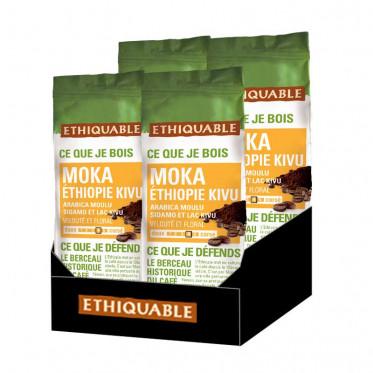 Café Moulu - Lot de 4 Paquets Éthiquable Éthiopie Bio - 1 Kg