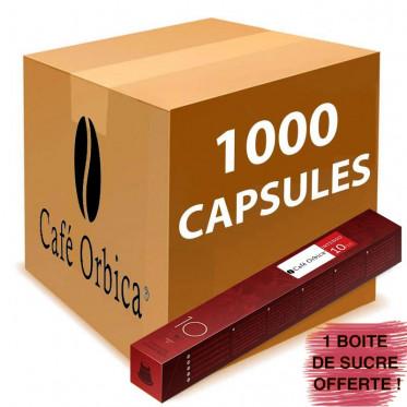Capsule Nespresso Compatible Café Orubia Intenso avec 200 sucres offerts - 100 tubes - 1000 capsules