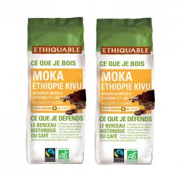 Café Moulu - Lot de 2 Paquets Éthiquable Éthiopie Bio - 500 gr