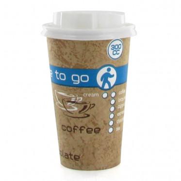 Gobelet en Carton avec couvercles Coffee To Go 30 cl - par 100