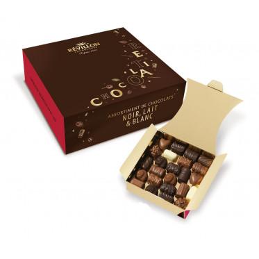 Ballotin de 48 chocolats : Assortiment de 12 recettes Noir, Lait, Blanc - 500 gr