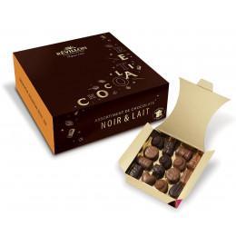 Ballotin de 30 chocolats Révillon : Assortiment de 10 recettes Noir, Lait, Blanc - 310 gr