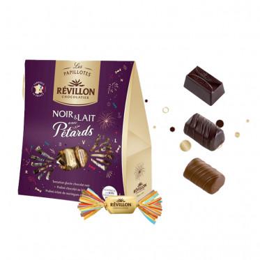 Pochette de Papillotes Révillon : chocolat Noir et Lait avec Pétards - 300 gr