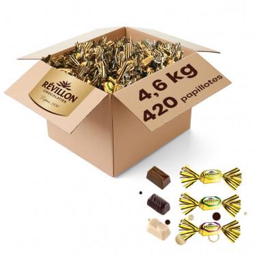 Carton de Papillotes Révillon : Assortiment de Chocolat au lait, noir, blanc - 4,6 Kg