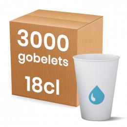 Gobelet en Carton Recyclable 18 cl pour fontaine à eau - 100 gobelets