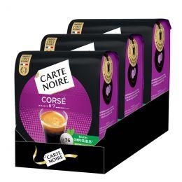 Dosette Senseo compatible Café Carte Noire n°6 Café Corsé - 3 paquets - 108 dosettes