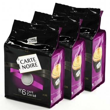 Dosette Souple Carte Noire n°6 Café Corsé 3 paquets - 108 pads