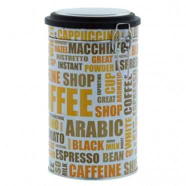 """Boite de conservation Hermétique pour Café """"Nuage de tags"""" : Blanc - 500 gr"""