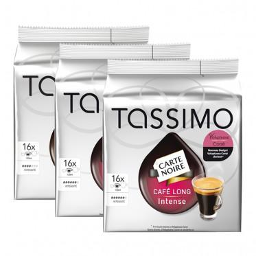 Capsule Tassimo Carte Noire Café Long Intense 3 paquets - 48 T-Discs