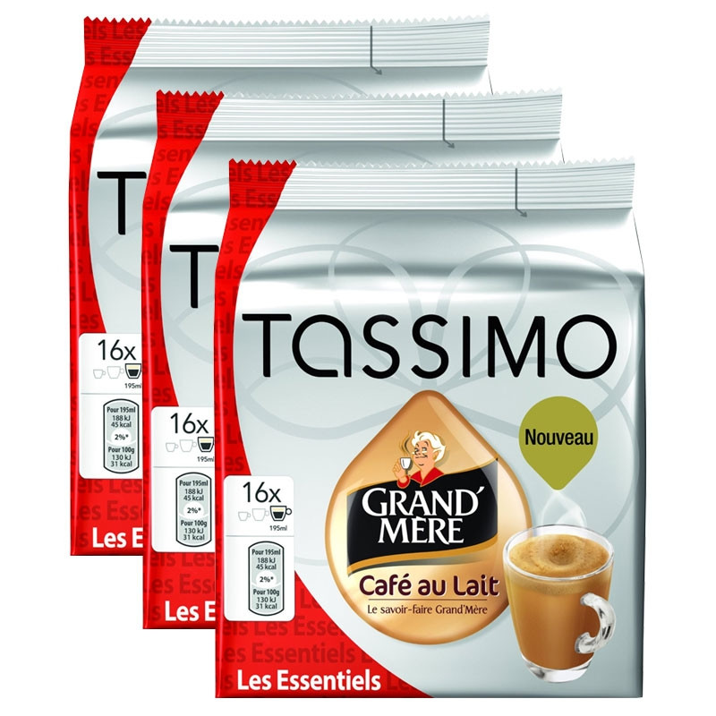 capsule tassimo grand 39 m re caf au lait 3 paquets 48 t. Black Bedroom Furniture Sets. Home Design Ideas