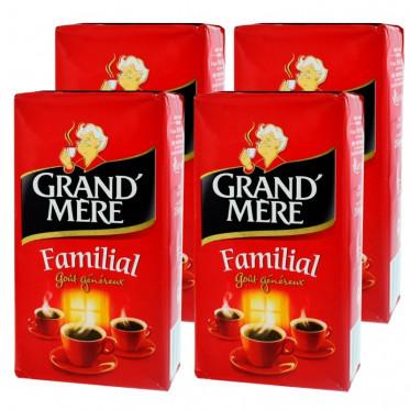 Café Moulu Grand'Mère Familial - Lot de 4 paquets - 1 Kg