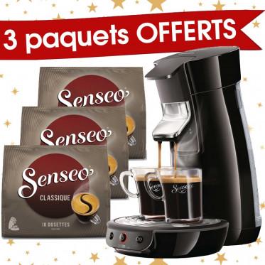 Machine à Dosettes Souples Senseo Viva Café Noire + 3 paquets de Senseo Classique offerts