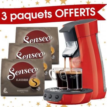 Machine à Dosettes Souples Senseo Viva Café Rouge + 3 paquets de Senseo Classique offerts