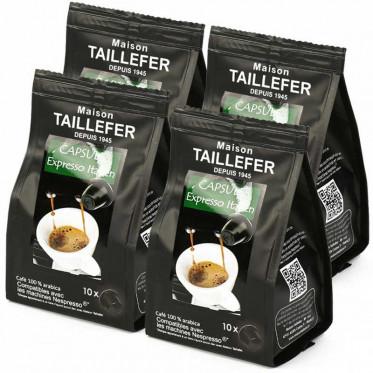 Capsule Nespresso Compatible Maison Taillefer Café Pur Arabica Italien 4 paquets - 40 capsules