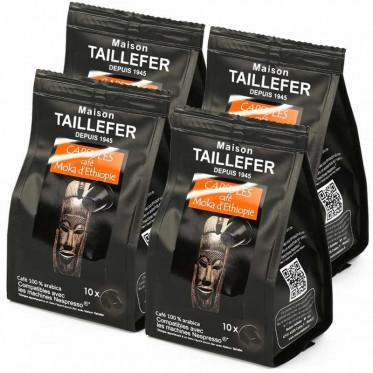 Capsule Nespresso Compatible Maison Taillefer Café Pur Arabica Moka Ethiopie 4 paquets - 40 capsules