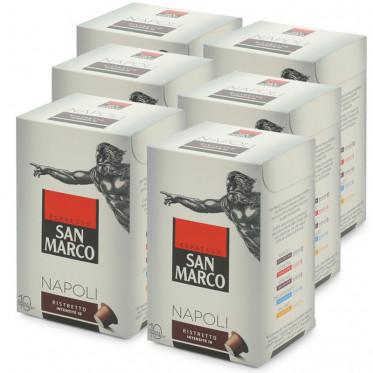 """Capsule Nespresso Compatible San Marco Napoli """"Ristretto"""" - 6 boites - 60 capsules"""