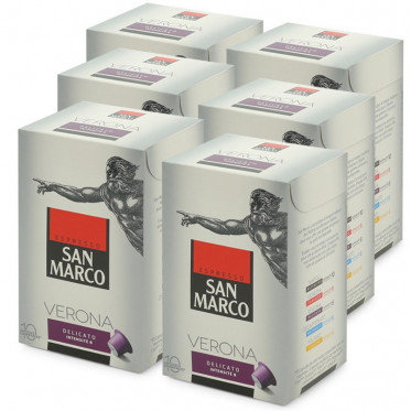 """Capsule Nespresso Compatible San Marco Verona """"Delicato"""" - 6 boites - 60 capsules"""