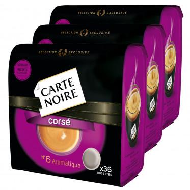 Dosettes Souples Senseo Compatibles : Lot de 3 paquets Carte Noire n°6 Café Corsé : 108 dosettes