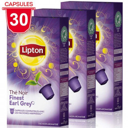 Capsule Nespresso Compatible Thé Noir Finest Earl Grey Lipton - 3 paquets - 30 capsules