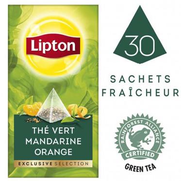 Thé Aromatise Lipton Exclusive Selection Thé Mandarine - Orange pyramides: 25 sachets